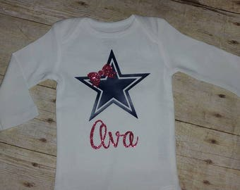 Dallas baby etsy custom dallas cowboys baby toddler onesie or shirt personalize it add your babys name negle Gallery
