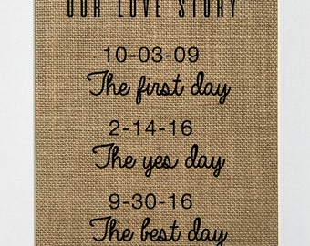 UNFRAMED Our Love Story / Burlap Print Sign 5x7 8x10 / CUSTOM Rustic Vintage Wedding Gift Sign Engagement Sign Love History Sign
