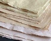 Half sheets Natural Fibre Cotton Rag papers, 56 x 37cm 22 x 15inch Khadi 210gsm Banana Bagasse Gunny Indian handmade paper, mixed paper pack