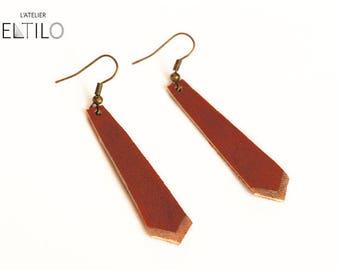 Brown leather earrings / / geometric Bohemian style