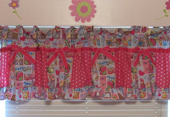Shopkins valance,Shopkins room decor,kids Shopkins,Shopkins curtains,girls curtains,girls room decor,Fancy Shopkins valance,Shopkins