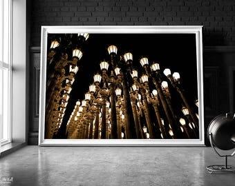 City Lights, Abstract urban decor, Los Angeles, LACMA, night photography, urban lights, city lights wall art, urban wall art, fine art