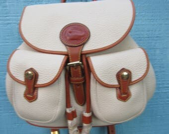 "Dooney & Bourke ~ Backpack ~ AWL ~ Bone ~ Tan ~ Mint ~ Recycled ~ Vintage ~ Unique ~ Unisex ~ Medium Size ~ 10"" X 13"" X 3.5"""