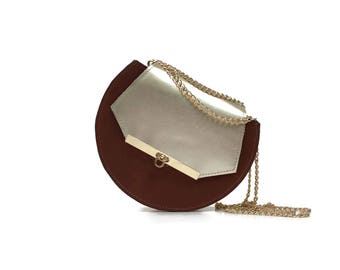 Loel mini military bee chain bag in cognac & gold