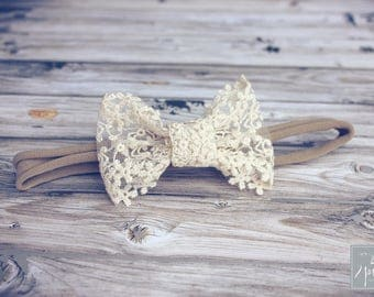 """Vintage Inspired Antique Lace Bow Headband, Baby Toddler Girls Hair Bows, Hair Clips or Headband, Nylon Bow Headband, 3"""" Bows, Lace Bows"""