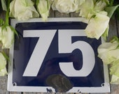 Enamel plate 75, house number, A small plate , plaque, blackboard,