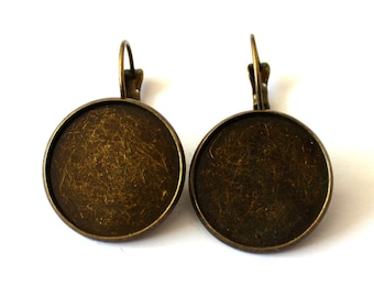 Pair of sleepers supports by bronzes cabochon 20mm round
