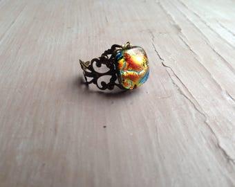 Unique boho ring, baroque filigree ring,  multicolored ring, handmade stone, uk shop, bohemian ring, ethnic ring, tribal ring