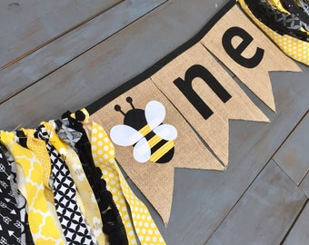 ONE Bumble Honey Bee First Birthday Party Decorations Black & Yellow Highchair Cake Smash Photo Prop Burlap Banner for Baby Girl, Picnic