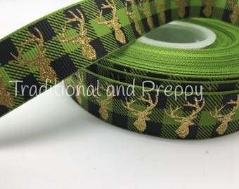 "7/8"" Glitter Moose deer buffalo plaid green and black grosgrain"