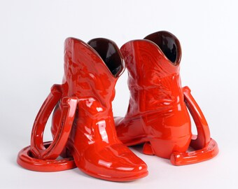 Frankoma Boot & Horseshoe Bookends in Flame Red