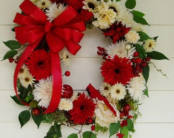 Red Cardinal Wreath, Christmas Grapevine Wreath, Winter Wreath, Holiday Wreath