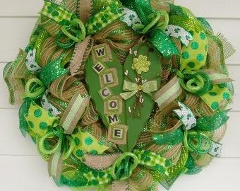 St. Patricks Day Wreath, Irish Wreath, Irish Welcome, St. Pats Day, St. Paddys Day