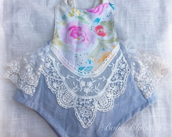 Girl Rompers Boho Romper Bohemian Clothing Baby Romper Girl Romper Boho Baby Cake Smash Easter Linen Baby Clothes Wedding Romper Lace Romper