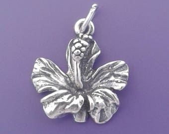 HIBISCUS Charm .925 Sterling Silver Hawaiian FLOWER Pendant - sc362