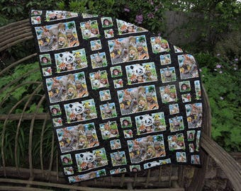 """Zoo Animals Taking Selfies on this Baby Quilt with Leopard Back Side     35"""" x 42"""""""