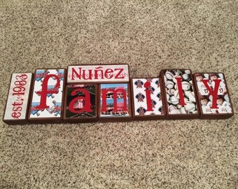 Family blocks - est. year, last name, FAMILY- Angels baseball theme