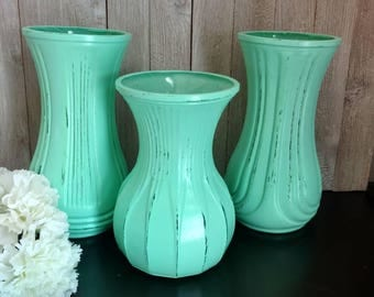 set of 3 painted distressed flower vases mint green shabby chic decor