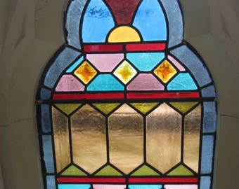 "Gothic Revival Era,Circa '1885"" New England Church Stained Glass Window...Architectural Salvage"