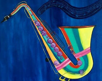 Acrylic painting on canvas Abstract Saxophone