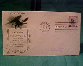 First Day Of Issue Aug. 1954 Patriotic Cover One Dollar Stamp  President Woodrow Wilson