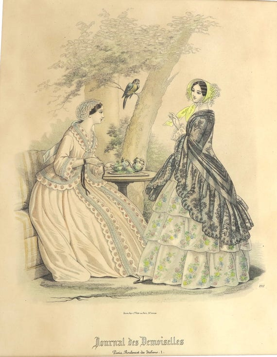 Antique 1800's lithographic print of illustration from French fashion magazine, hand colored, fashionable women taking tea with parrot, 1872