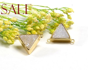 SALE! Triangle Druzy in AB color, AB Druzy Connector, Natural Titanium Agate Drusy Gemstone Jewelry  - 1 pc/ pkg