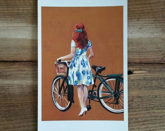Girl with bike - PRINT of original art
