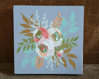 Floral handpainted decor - Light grey background