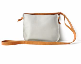 Leather Bag| Small Leather Bag| Leather Crossbody| Light Gray Leather Bag| Grey Leather Bag|