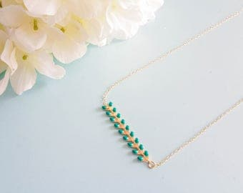 "Necklace size adjustable ""Florine"" gold plated / Green"