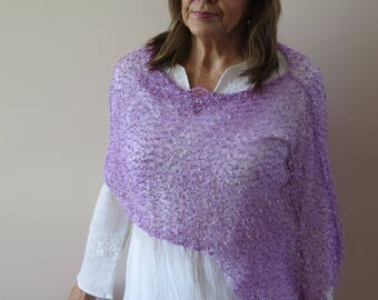 Poncho Scarf Lilac Scarf Shawl Wrap Wedding shawl  Cruise Wear and Resort Wear Accessory poncho scarf