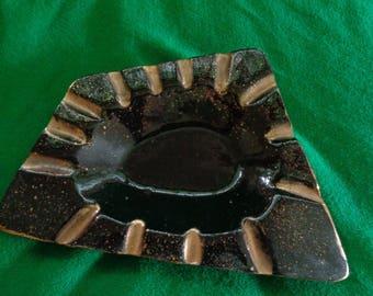 Mid century ash tray dish black and gold