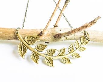 Brass Leaf Branch Necklace