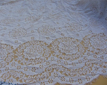 white Chantilly Lace Fabric sell by yard, pure white lace for Bridal Gowns, Mantilla  Veils,snow white eyelash lace