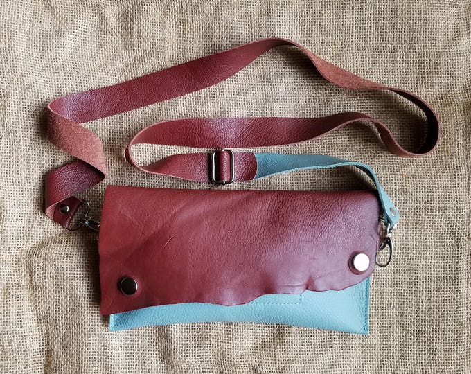 """Leather Fanny Pack in """"Aqua"""" w/ Adjustable Strap"""