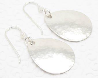 Medium Small Sterling Silver Hammered Teardrop Earrings