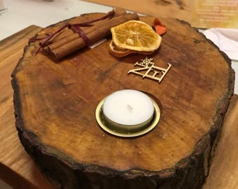 Christmas Reclaimed wooden Candle holder; Perfect table centrepiece