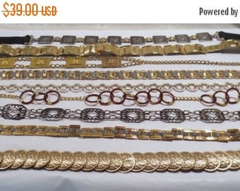 50% Off Estate Sale Wholesale Lot 9 Vintage Metal Belts, Bulk Lot 17, Some Designer
