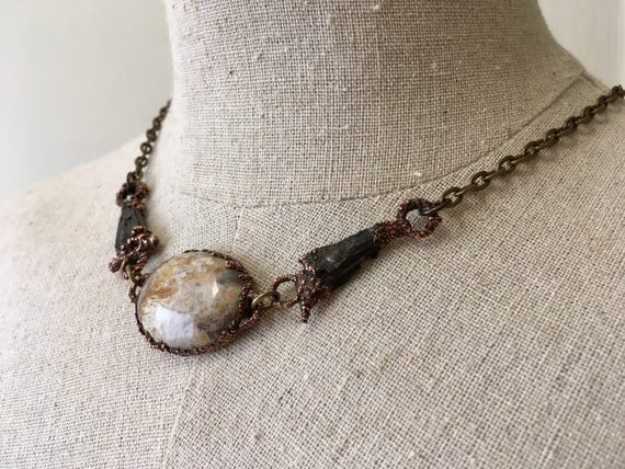 Electroformed Necklace, Electroformed jewelry, Gold Moss Agate and kyanite Necklace, Copper Necklace, Agate, Boho Necklace, Gypsy Necklace