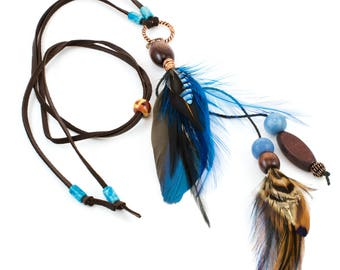 Real Feather Necklace - Cruelty Free Feather Jewelry - Blue Feather Pendant