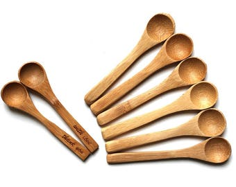 6 mini bamboo wooden spoons 3 1/2 inch, wood teaspoons, small wooden spoon, tea expresso spice spoon, wedding favors, party favors, DIY gift