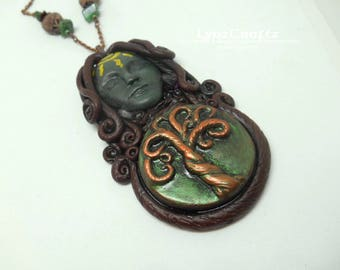 Spirit/Goddess of the Earth green & brown polymer clay jewelry pendant necklace handmade One of a Kind