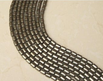 Natural Pyrite Barrel Beads - 8mm x 12mm - 15 inch Strand