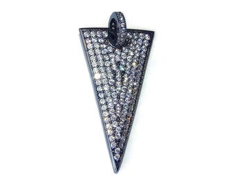 Micro Pave Pendant - Pave Charm Pendant, Pave Cubic Zirconium Crystals, CZ - Rhinestone - Triangle - Black - 18mm x 34mm