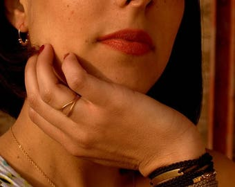 SUMMER SALE 20% OFF Black and gold wrap bracelet, Macrame bracelet, Boho Chic Bohemian Fashion Mediterranean Style Double Wrap
