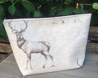 Large stag fabric cosmetic wash bag with waterproof lining travel student bathroom storage