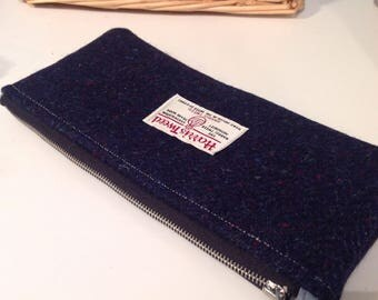 Navy herringbone harris tweed pencil case pouch desk student stationary storage