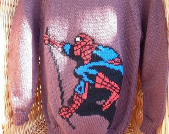 This sweater is for a 26 inch chest or a 4-5 year old.  It is knitted in mink and has Spiderman embroidered on the front and is ready to go