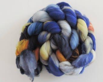 merino nylon,Midnight Light, superwash sock blend,top,handpainted fiber for spinning,3,5oz